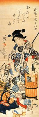 Woodcut of a haiku by Fukuda Chiyo-ni (1703-1775), regarded as one of the greatest female haiku poets