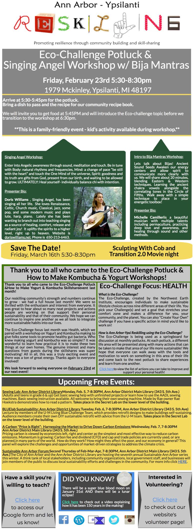 January 2018 Newsletter (Feb events!) | Ann Arbor-Ypsi